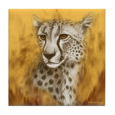 Cheetah Portrait Tile Coaster