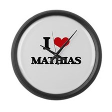 I Love Mathias Large Wall Clock