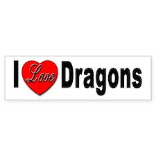 I Love Dragons Bumper Sticker for Dragon Lovers