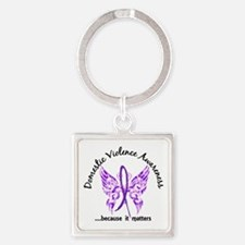 Domestic Violence Butterfly 6.1 Square Keychain