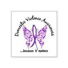 "Domestic Violence Butterfly Square Sticker 3"" x 3"""
