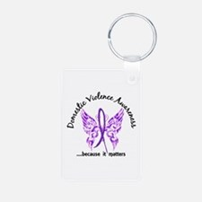Domestic Violence Butterfl Aluminum Photo Keychain