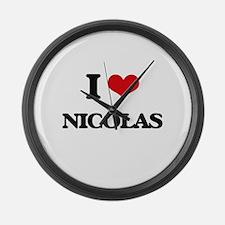 I Love Nicolas Large Wall Clock