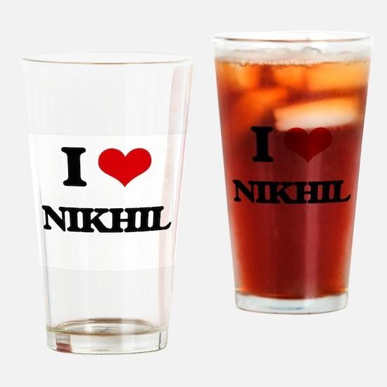 I Love Nikhil Drinking Glass