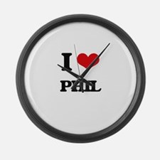 I Love Phil Large Wall Clock