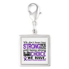 Fibromyalgia HowStrongWeAre Silver Square Charm