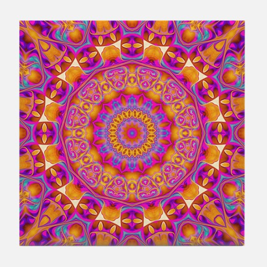 Trippy Hippy   v6 Geometric Mandala Tile Coaster