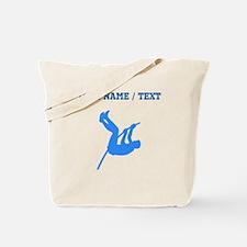 Custom Blue Pole Vaulter Silhouette Tote Bag