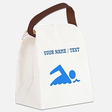 Custom Blue Swimmer Canvas Lunch Bag