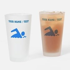 Custom Blue Swimmer Drinking Glass