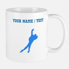 Custom Blue Speed Skater Silhouette Mugs