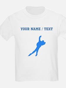 Custom Blue Speed Skater Silhouette T-Shirt