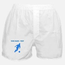 Custom Blue Soccer Player Silhouette Boxer Shorts