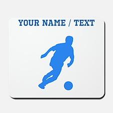 Custom Blue Soccer Player Silhouette Mousepad