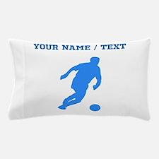 Custom Blue Soccer Player Silhouette Pillow Case