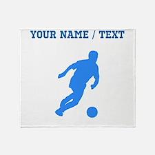 Custom Blue Soccer Player Silhouette Throw Blanket