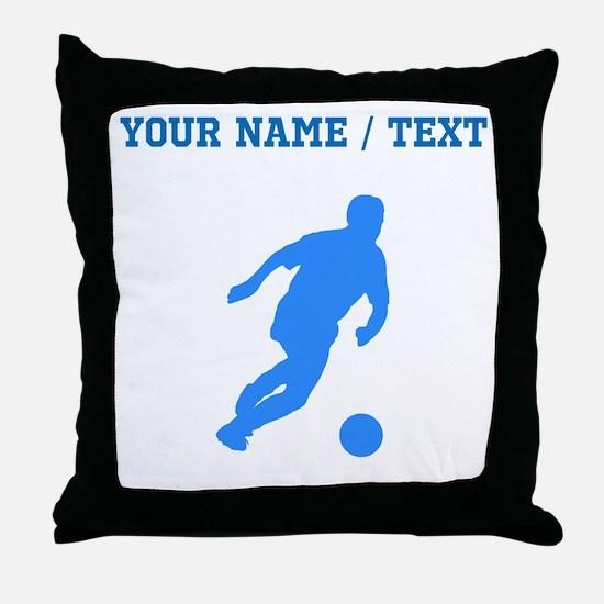 Custom Blue Soccer Player Silhouette Throw Pillow