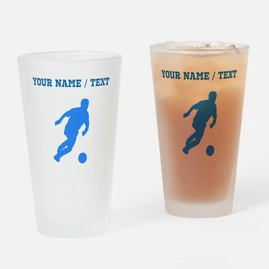 Custom Blue Soccer Player Silhouette Drinking Glas