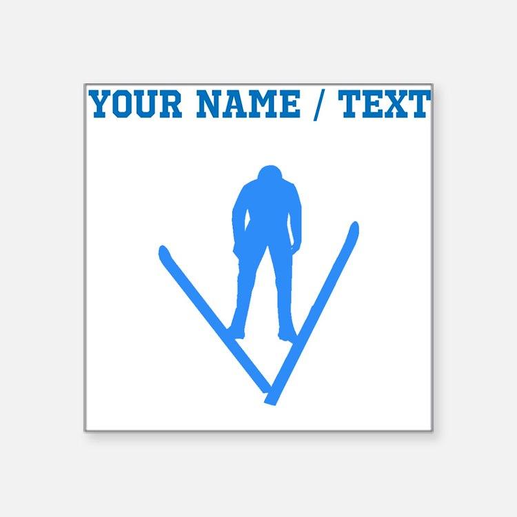 Custom Blue Ski Jumper Silhouette Sticker