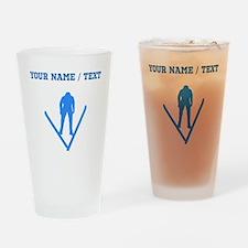 Custom Blue Ski Jumper Silhouette Drinking Glass
