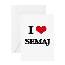 I Love Semaj Greeting Cards