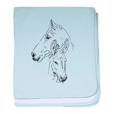 horse and donkeybest friends baby blanket