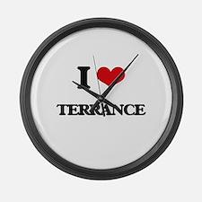 I Love Terrance Large Wall Clock