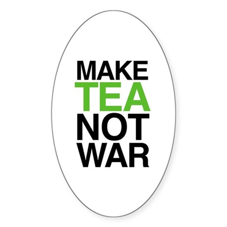 Make Tea Not War Oval Sticker
