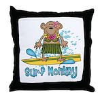 Surf Monkey (girl) Throw Pillow