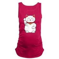 White Lucky Cat Right Arm Raised Maternity Tank To