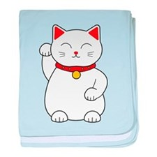 White Lucky Cat Right Arm Raised baby blanket