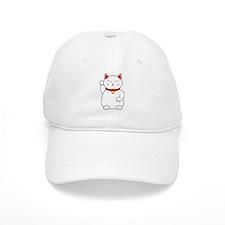 White Lucky Cat Right Arm Raised Baseball Baseball Cap