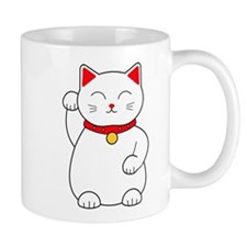 White Lucky Cat Right Arm Raised Mugs