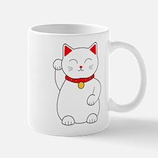 White Lucky Cat Right Arm Raised Mugs