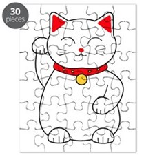 White Lucky Cat Right Arm Raised Puzzle