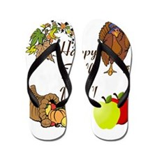 Happy Fall YAll Autumn Thanksgiving Flip Flops
