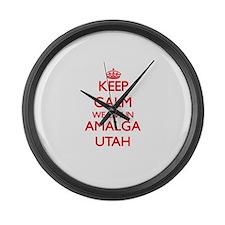Keep calm we live in Amalga Utah Large Wall Clock