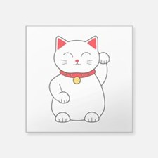 "White Lucky Cat Left Arm Ra Square Sticker 3"" x 3"""