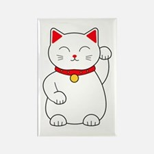 White Lucky Cat Left Arm Raised Rectangle Magnet