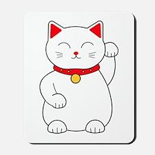White Lucky Cat Left Arm Raised Mousepad