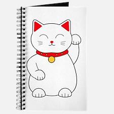 White Lucky Cat Left Arm Raised Journal