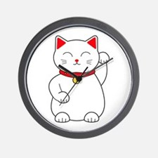 White Lucky Cat Left Arm Raised Wall Clock
