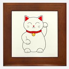 White Lucky Cat Left Arm Raised Framed Tile