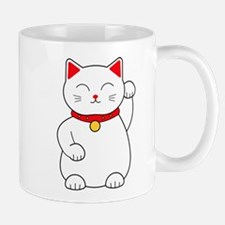 White Lucky Cat Left Arm Raised Mug