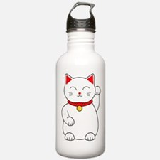 White Lucky Cat Left A Water Bottle