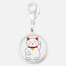 White Lucky Cat Left Arm Raise Silver Round Charm