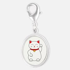 White Lucky Cat Left Arm Raised Silver Oval Charm