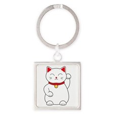 White Lucky Cat Left Arm Raised Square Keychain
