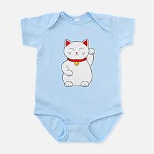 White Lucky Cat Left Arm Raised Infant Bodysuit