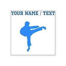 Custom Blue Karate Kick Silhouette Sticker